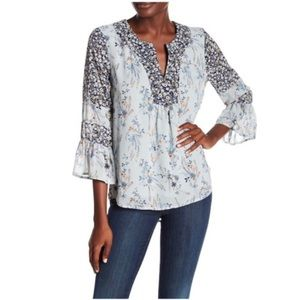 DR2 By Daniel Rainn | Blue Floral Boho Blouse M09